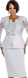 Susanna 3830-White - Skirt Suit With Layered Peplum Jacket