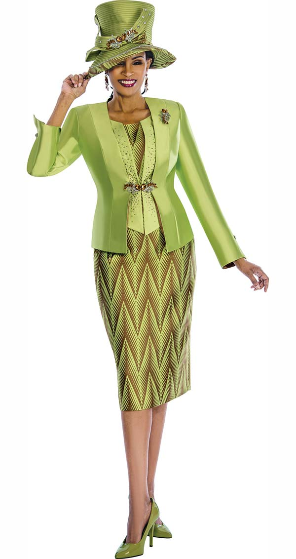 Susanna 3834 - Womens Church Suit With Solid & Zig-Zag Pattern Design