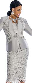 Susanna 3835 - Solid & Lace Womens Suit