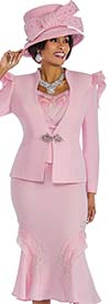 Susanna 3836-Pink - Flared Ruffle Skirt Suit With Floral Applique & Shoulder Adornment