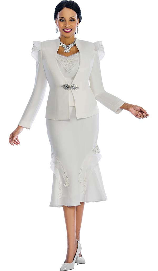 Susanna 3836-White - Flared Ruffle Skirt Suit With Floral Applique & Shoulder Adornment