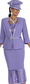 Susanna 3837-Lilac - Cut-Out Flounce Skirt Suit With Silky Trims
