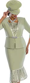 Susanna 3837-Sage - Cut-Out Flounce Skirt Suit With Silky Trims