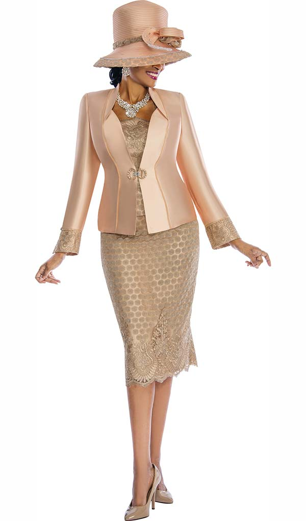 Susanna 3838 - Womens Church Suit With Solid & Pattern Mix Design