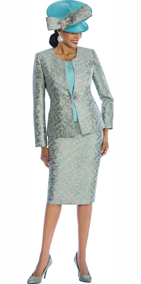 Susanna 3842 - Three Piece Print Pattern Skirt Suit With Solid Camisole