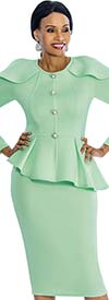 Susanna 3850 - Skirt Suit With Ruffled Design Peplum Jacket