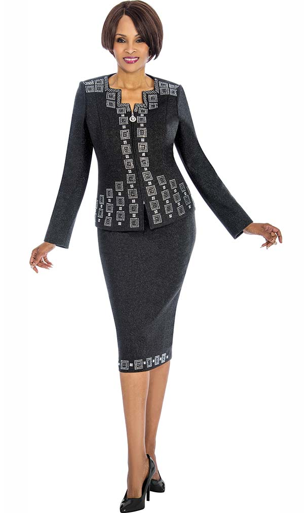 Susanna 3852 - Two Piece Embellished Skirt Suit With Block Pattern Design
