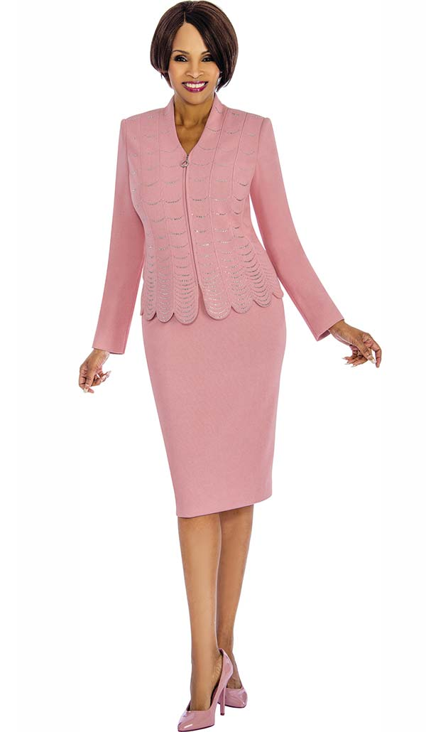 Susanna 3853 - Two Piece Embellished Skirt Suit With Scallop Trim Design