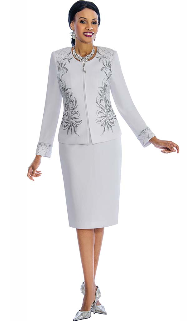 Susanna 3854 - Two Piece Embellished Skirt Suit With Intricate Pattern