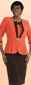 Tally Taylor 9439-Orange - Two Piece Dress Suit With Pleated Detail
