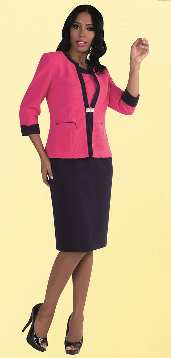 Tally Taylor 9440-Fuchsia - Two Piece Dress Suit With Dual Tone Design