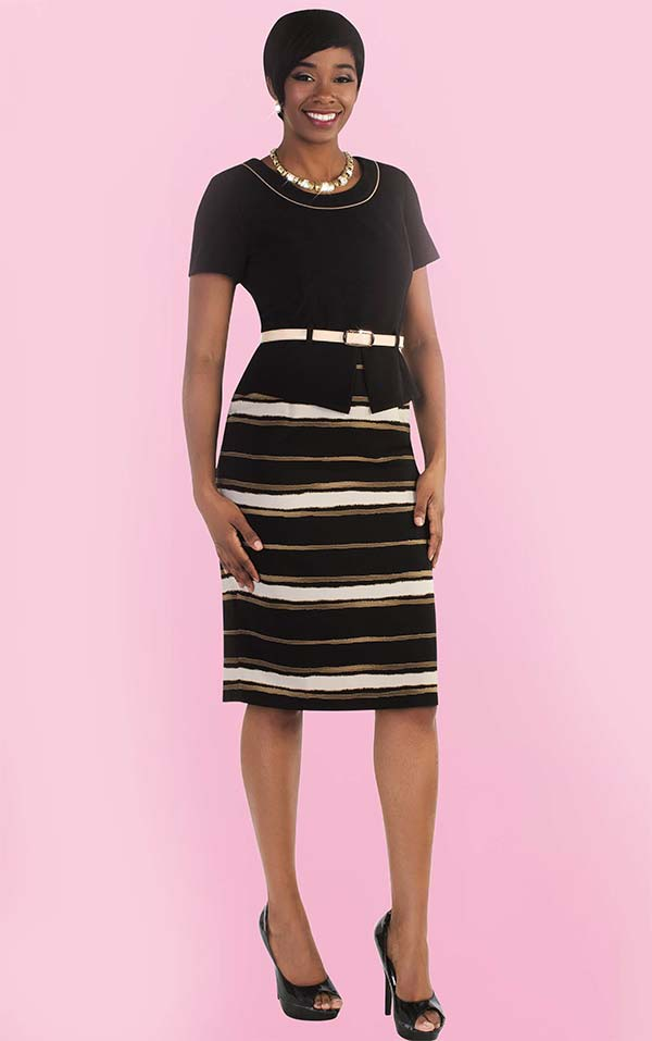 Tally Taylor 9441 One Piece Striped Dress With Belt