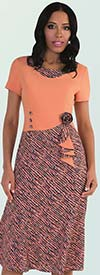 Tally Taylor 9444-Salmon - One Piece Dress In Multi-Color Sprinkle Print