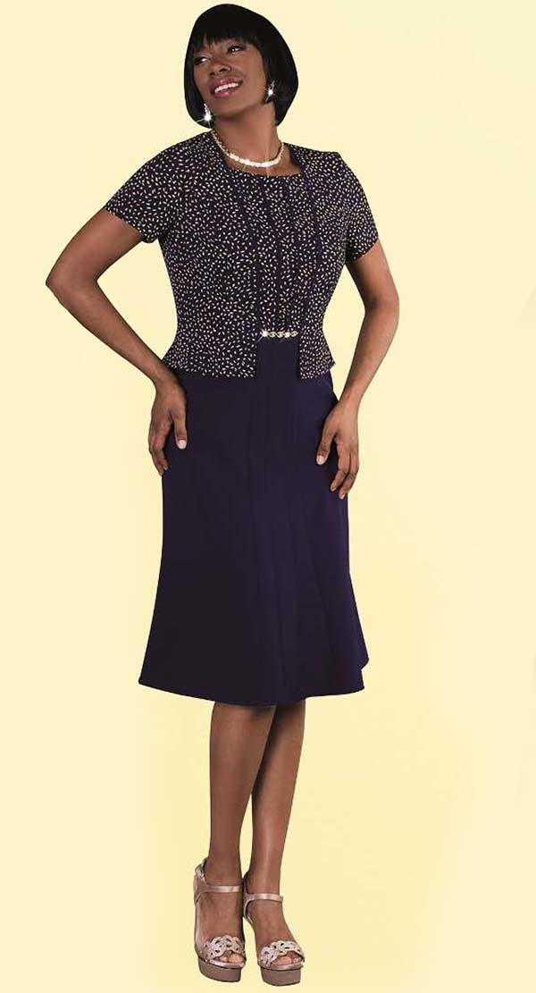 Tally Taylor 9445-Navy - One Piece Dress In Spotted Print With Square Neckline