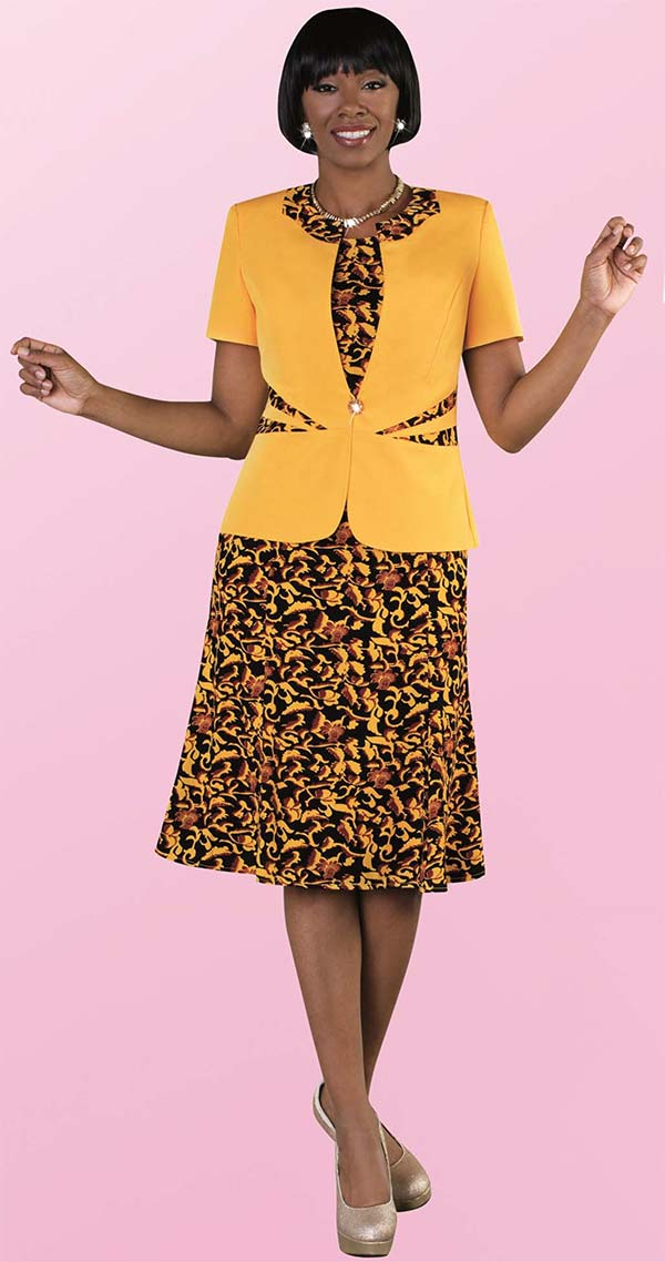 Tally Taylor 9446-Yellow - Two Piece Flared Dress In Floral Print