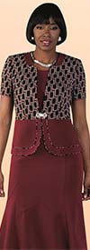 Tally Taylor 9449-Burgundy - Two Piece Dress Suit In Linked Geometric Print