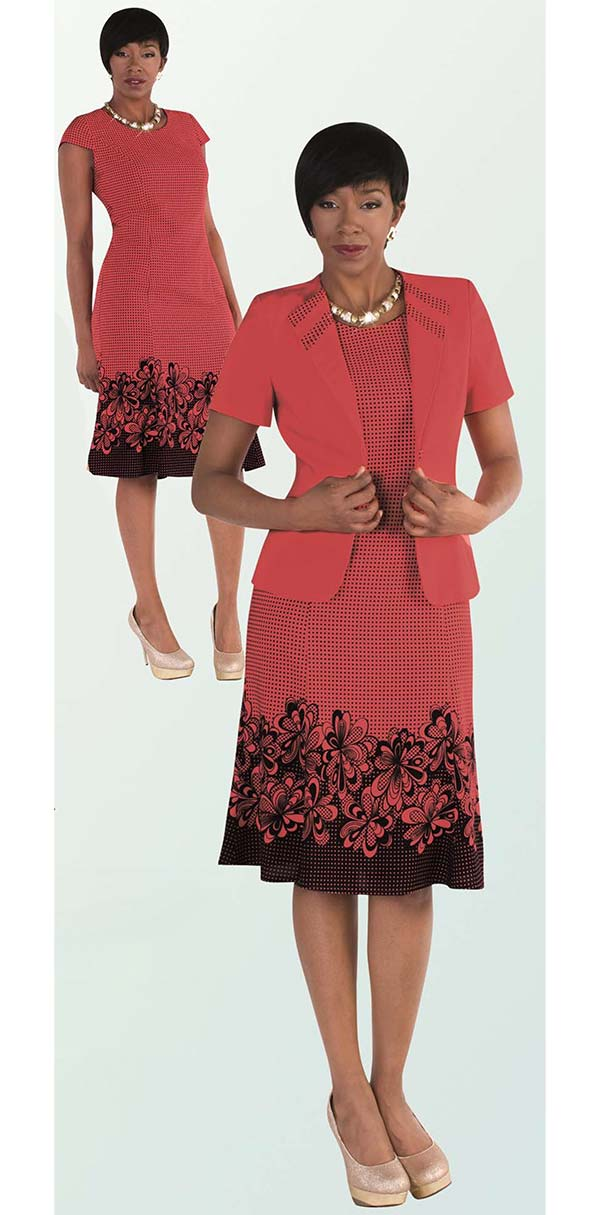 Tally Taylor 9450-Coral - Two Piece Flared Dress Suit In Floral Print