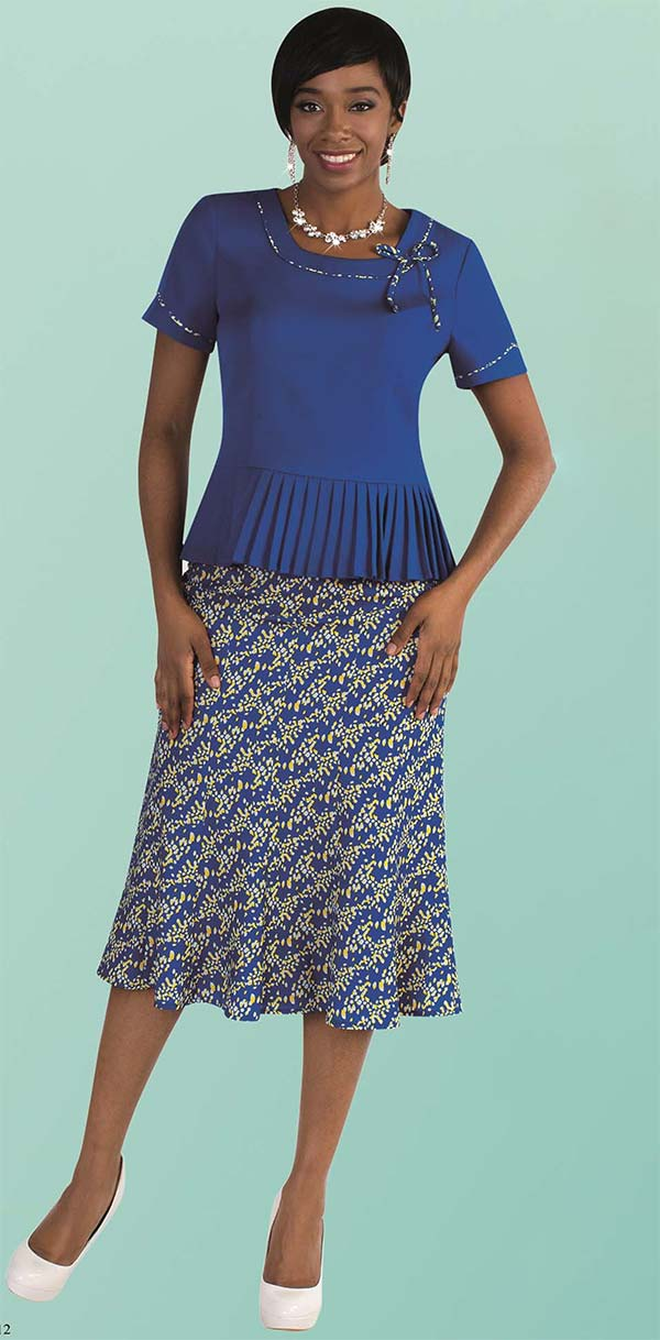 Tally Taylor 9455-Royal - Two Piece Womens Skirt Suit With Pleated Detail