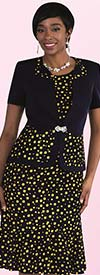 Tally Taylor 9456-Navy - Two Piece Dress In Multicolor Polka Dot Print
