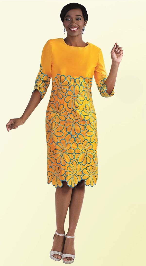 Tally Taylor 9457-Mimosa - One Piece Dress With Floral Embroidery Details