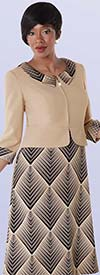 Tally Taylor 9417-Brown / Apricot Two Tone Chelsea Collar One Piece Dress