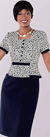 Tally Taylor 9418-Navy / Multi Polka Dot Print Dress Suit With Layered Design