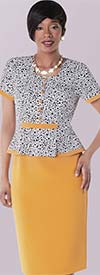 Tally Taylor 9418-Yellow / Multi Polka Dot Print Dress Suit With Layered Design