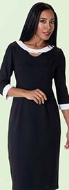 Tally Taylor 9419-Black / White One Piece Dress With Rhinestone Detail On Collar