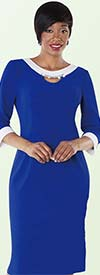 Tally Taylor 9419-Blue / White One Piece Dress With Rhinestone Detail On Collar