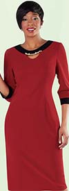 Tally Taylor 9419-Tomato / Black One Piece Dress With Rhinestone Detail On Collar