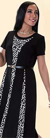 Tally Taylor 9421-Black / White One Piece Fit & Flare Dress With Graphic Print Detail