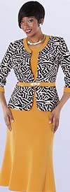 Tally Taylor 9428-Mimosa Three Piece Skirt Suit With Geometric Print