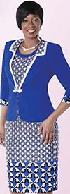 Tally Taylor 9430-Royal Windmill Print Dress Suit With Rhinestone Buckle