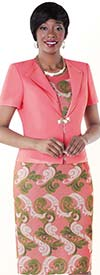 Tally Taylor 9431-Rose Two Piece Dress Suit With Baroque Print