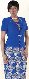 Tally Taylor 9431-Royal Two Piece Dress Suit With Baroque Print