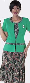 Tally Taylor 9432-Mint Two Piece Printed Dress Suit With Brooch