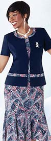 Tally Taylor 9432-Royal Two Piece Printed Dress Suit With Brooch