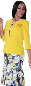 Tally Taylor 9433-Yellow / Multi Print Womens Dress Suit With Detachable Flower