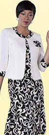 Tally Taylor 9434-BlackWhite Organic Print Dress Suit With Detachable Flower
