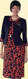Tally Taylor 9434-NavyFlame Organic Print Dress Suit With Detachable Flower