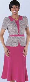Tally Taylor 9435-Fuchsia Two Tone Zigzag Print Skirt Suit