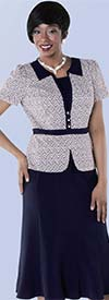 Tally Taylor 9435-Navy Two Tone Zigzag Print Skirt Suit