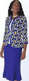 Tally Taylor 9407 Three Piece Ladies Skirt Suit With Printed Jacket