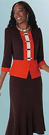 Clearance Tally Taylor 9410 Two Piece Womens Skirt Suit With Rhinestone Buttons
