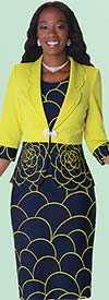 Tally Taylor 9412 Womens Two Tone Print Dress Suit With Rhinestone Detail