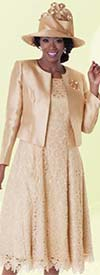 Tally Taylor 4529-Champagne - Two Piece Pleated Lace Dress Suit With Silk Look Jacket