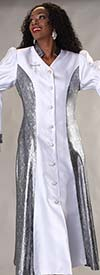 Clearance Tally Taylor 4565-White / Silver - Womens Robe Dress For Church