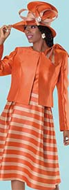 Tally Taylor 4574 - Two Tone Striped Dress Suit With Bow On Jacket