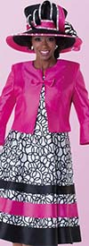 Tally Taylor 4575 - Two Tone Circle Print Dress Suit With Bow On Jacket