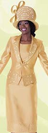 Tally Taylor 4590 Three Piece Skirt Suit With Notch Lapel & Sequin Trims